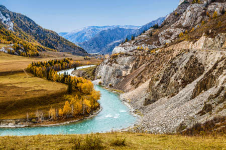 Top view of the mountains and the Chuya river in autumn. Altai Republic, Russia