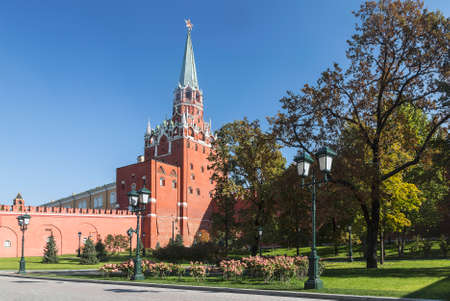 Alexander Garden with a view of the Trinity Tower of the Kremlin on a sunny summer day. Moscow, Russia
