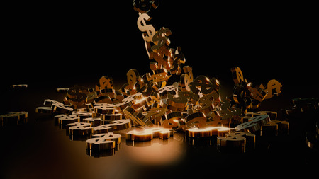 Signs of dollars falling on a pile. Volumetric models. Stock Photo