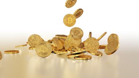 Bitcoin moneda, la moneda cripto, cayendo sobre una pila