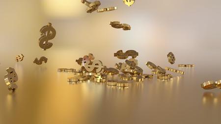 3d rendering of falling signs of dollars.