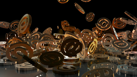 silver background: Signs of email falling on a pile. Volumetric models.