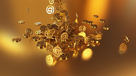 shiny buttons: 3d rendering of falling signs email. Variant in gold style Stock Photo