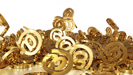 3d rendering of falling signs email. Variant in gold style Stock Photo