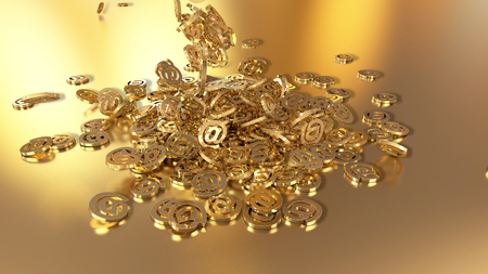 email icon: Signs of email falling on a pile. Volumetric models.