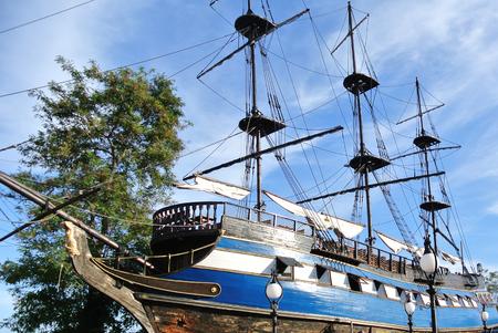 pirate crew: Sailing ship on the coast of Bulgaria
