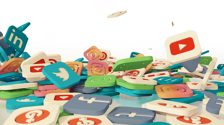 3d rendering of falling social networking icons. On a white background Redactioneel