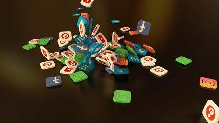 3d rendering of falling social networking icons.