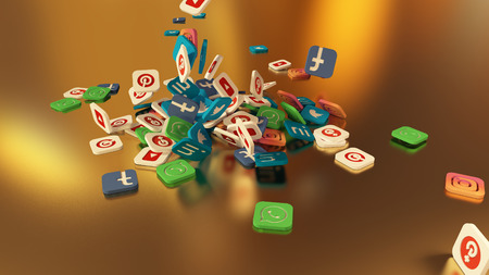 3d rendering of falling social networking icons. On a gold background