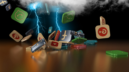 3d rendering of falling social networking icons. Simulation of loading in the cloud through lightning Editorial