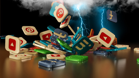 3d rendering of falling social networking icons. Simulation of loading in the cloud through lightning Редакционное