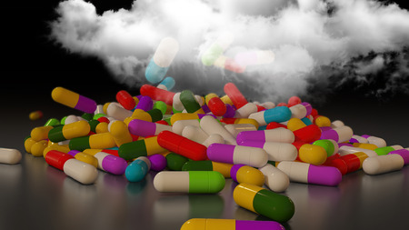 healthier: 3D rendering of multicolored medical pills falling from a thundercloud Stock Photo