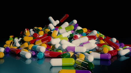 prescription drugs: 3D rendering multicolored medical pills falling from top to bottom
