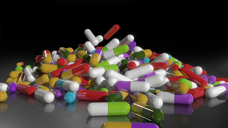 3D rendering multicolored medical pills falling from top to bottom