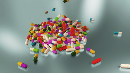 healthier: 3D rendering multicolored medical pills falling from top to bottom