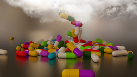3D rendering of multicolored medical pills falling from a thundercloud Stock Photo