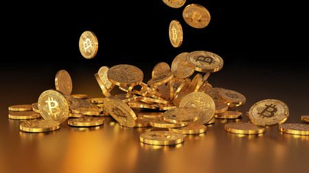 Bitcoin currency, crypto currency, falling on a pile
