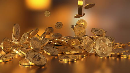 electronic commerce: Bitcoin currency, crypto currency, falling on a pile