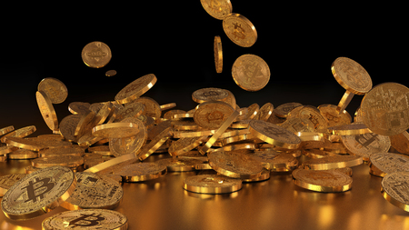 3D rendering Bitcoin currency, crypto currency, falling on a pile Фото со стока