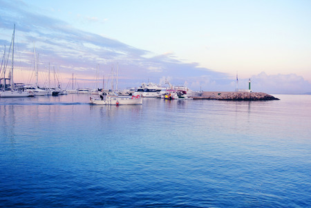 The picturesque coast of Spain with yachts in the sea Stock Photo