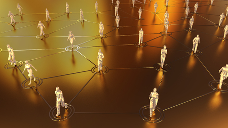 social gathering: 3D rendering with social communication and network concept with 3d models of people