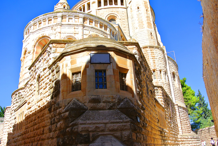 Monastery of the Assumption of the Blessed Virgin. The German Catholic abbey of the Benedictine Order in Jerusalem on the summit of Mount Zion at the walls of the Old City, near the gate of Zion