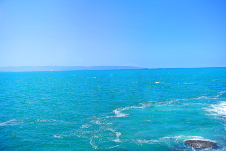 tropez: Seascape panorama in a quiet Mediterranean sea. The shore of Acre. Israel
