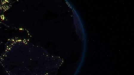 3D rendering planet Earth from space against the background of the star sky Stock Photo