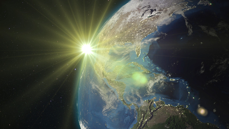 3D rendering planet Earth from space against the background of the starry sky and the Sun Stock Photo