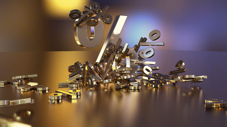 3D rendering of signs percent, falling into a heap. Volumetric signs with a reflective surface. A large percent sign among the small signs