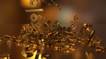 3D rendering of signs percent, falling into a heap. Volumetric signs with a reflective surface