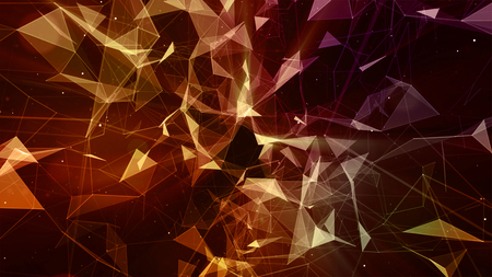 3d rendering abstract background on the basis of Plexus. Technological surfaces are intertwined in a futuristic geometric and scientific background Stockfoto