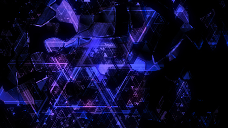 3D rendering of abstract geometric background. Colorful luminous geometric shapes form a background in the form of a color scheme Stock Photo