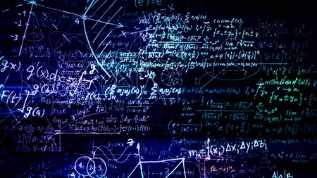 3D-Rendering abstrakter Blöcke mathematischer Formeln, die sich im virtuellen Raum befinden. Kamera innerhalb der mathematischen Formeln Standard-Bild