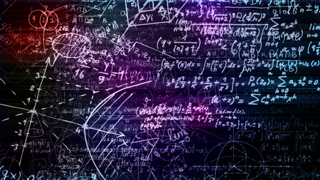 3D rendering abstract blocks of mathematical formulas that are in the virtual space. Camera inside the mathematical formulas Stock Photo