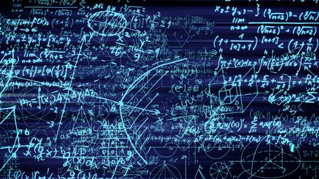 3D-Rendering abstrakter Blöcke mathematischer Formeln, die sich im virtuellen Raum befinden. Kamera innerhalb der mathematischen Formeln