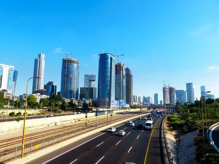View of the streets of Tel Aviv. Tourist routes for recreation and work in the largest city of Israel. Summer of 2018