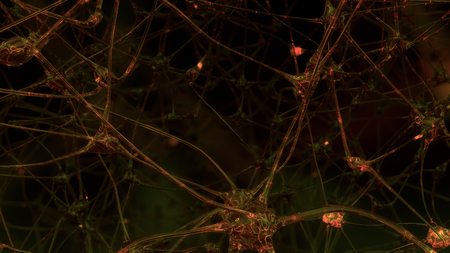 3D rendering of artificial intelligence. Networks of artificial nerve cells and synapses in the brain of a robot through which electrical impulses and discharges pass. Banco de Imagens