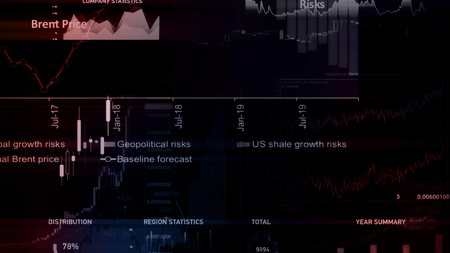 3D rendering of stock indexes in virtual space. Economic growth, recession. Electronic virtual platform showing trends and stock market fluctuations