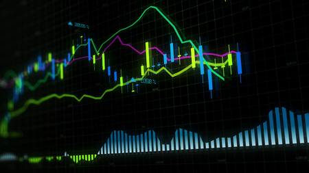 3D rendering of stock indexes in virtual space. Economic growth, recession. Electronic virtual platform showing trends and stock market fluctuations Stock Photo - 116620939