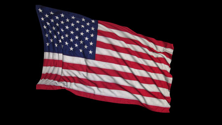 3D rendering of an american flag. The flag is made on the basis of fabric, smoothly developing in the wind. Wind waves spread over the flag