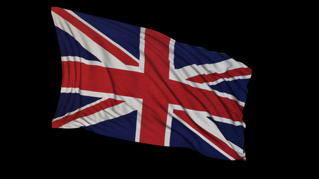 3D rendering of a british flag. The flag develops smoothly in the wind. Wind waves spread over the flag