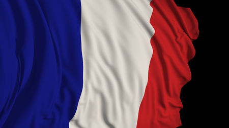 3D rendering of a french flag. The flag develops smoothly in the wind. Wind waves spread over the flag Stock fotó