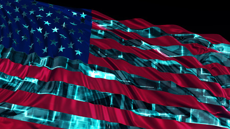 3d rendering of american flag made in cyber style. The flag develops smoothly in the wind. Wind waves spread over the flag Banco de Imagens - 119422314