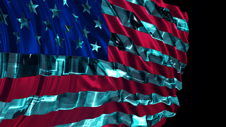 3d rendering of american flag made in cyber style. The flag develops smoothly in the wind. Wind waves spread over the flag