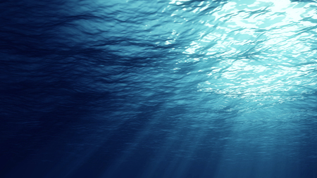 3D rendering of rays of sunlight shining from above, penetrating deep clear blue water, resulting in a beautiful water curtain reflecting light Stock Photo
