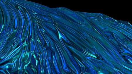 3D rendering of blue shiny fabric. The fabric develops smoothly in the wind. Wind waves spread through the fabric