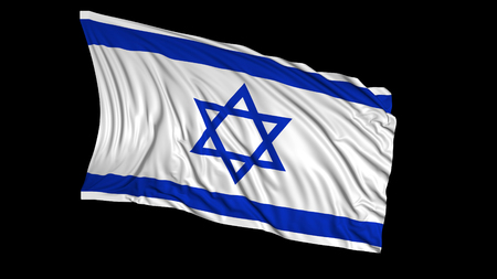3d rendering of a israeli flag. The flag develops smoothly in the wind. Wind waves spread over the flag
