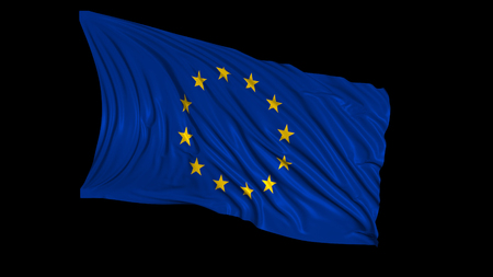 3d rendering of a european flag. The flag develops smoothly in the wind. Wind waves spread over the flag