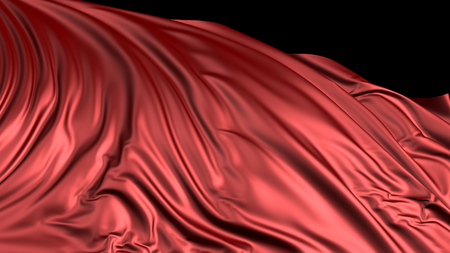 3D rendering of red silk. The fabric develops smoothly in the wind. Wind waves spread through the fabric Stock Photo